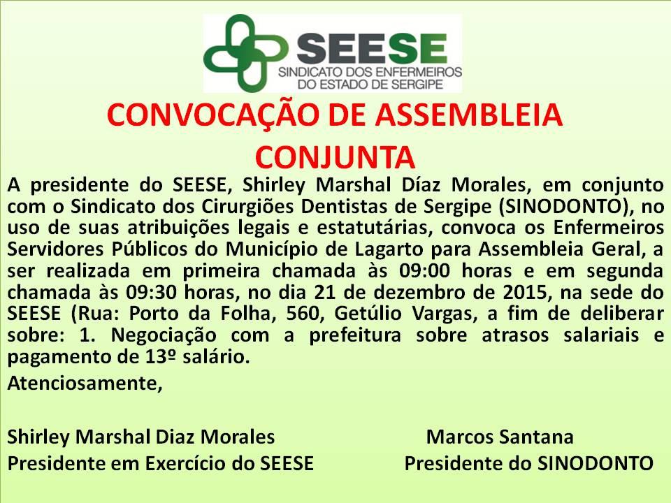CONVOCAÇÃO DE ASSEMBLEIA CONJUNTA