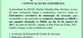 Atenção Enfermeiros do Município de Aracaju!! Segunda-feira, dia 23 tem Assembleia!!!