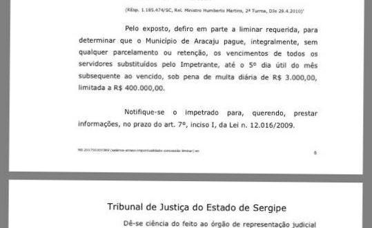 O Seese ganha ação contra a Prefeitura de Aracaju que terá que pagar o salário até o quinto dia útil