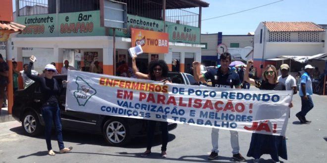 Em ato público, enfermeiros servidores de Poço Redondo iniciam greve